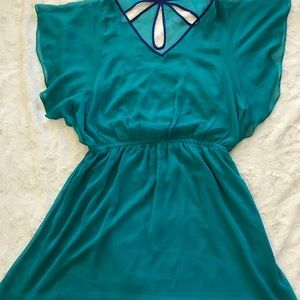 Green flowy dress, can dress up or down!